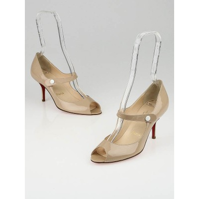 Christian Louboutin Poudre Patent Leather Iowa 70 Mary Jane Pumps Size 7.5/38