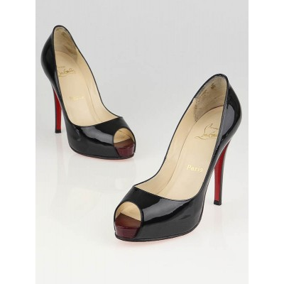 Christian Louboutin Black/Red Patent Leather Very Prive 120 Peep Toe Pumps Size 6.5/37