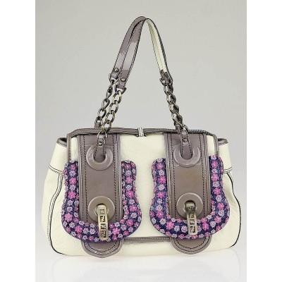 Fendi Limited Edition White Leather Ricami Floral Embroidered B Bag