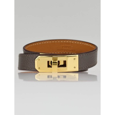 Hermes Etain Swift Leather Gold Plated Kelly Double Tour Bracelet Size S