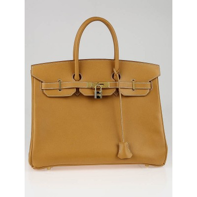 Hermes 35cm Vache Natural Leather Gold Plated Birkin Bag