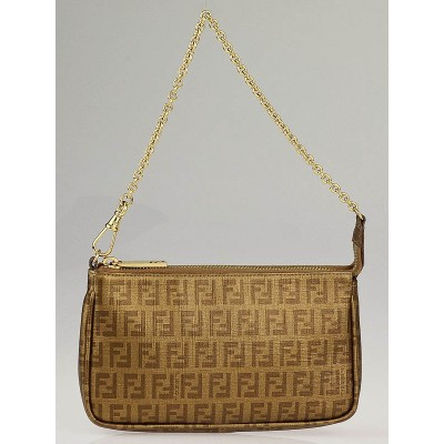 Fendi Bronze Zucchino Coated Canvas Accessories Pochette Bag