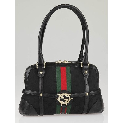 Gucci Black GG Canvas Vintage Web Interlocking Small Shoulder Bag