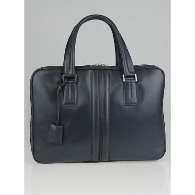 Tod's Blue Leather New Iconic P Doc Triple Zip Briefcase Bag