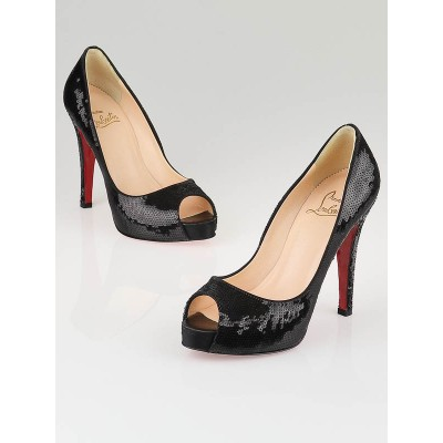 Christian Louboutin Black Sequin Paillettes Very Prive 120 Pumps Size 5.5/36