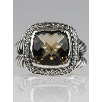 David Yurman 11mm Smoky Quartz and Diamonds Albion Ring Size 7