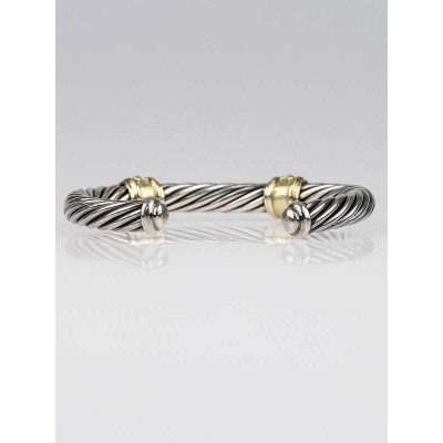 David Yurman 7mm Sterling Silver and Gold Renaissance Cable Cuff Bracelet