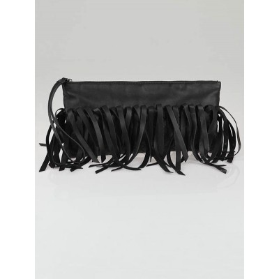 Bottega Veneta Black Lambskin Leather Fringe Clutch Bag