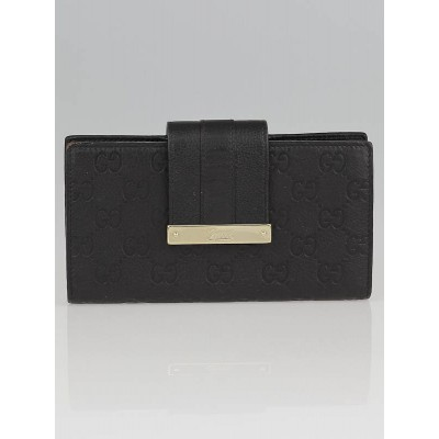 Gucci Black Guccissima Leather Web Metal Bar Continental Wallet