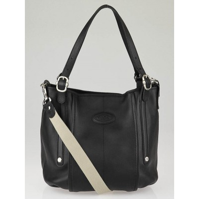 Tod's Black Leather G-Line Easy Sacca Grande Tote Bag