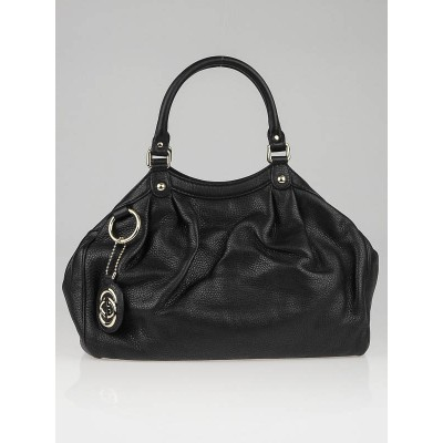 Gucci Black Pebbled Leather Medium Sukey Tote Bag