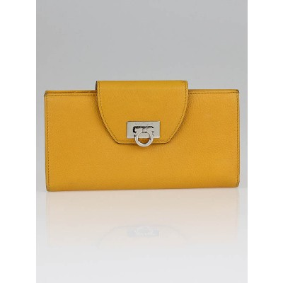 Salvatore Ferragamo Yellow Calf Leather Continental Wallet