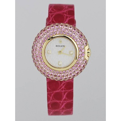 Rolex Cellini Orchid 18k Gold and Pink Sapphire 23mm Ladies Watch 6201/8