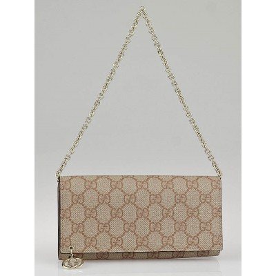Gucci Pink/Beige GG Coated Canvas Wallet-Chain Clutch Bag