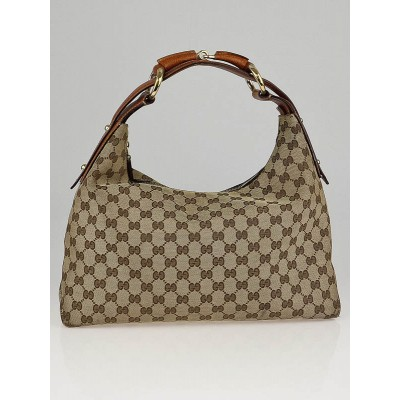Gucci Beige/Brown GG Canvas Chain Medium Horsebit Hobo Bag