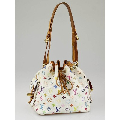 Louis Vuitton White Monogram Multicolore Petit Noe Bag