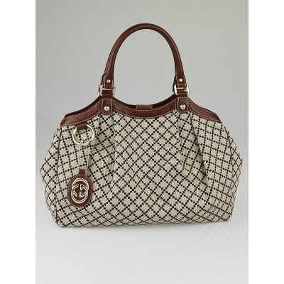 Gucci Blue/Beige Diamante Canvas Medium Sukey Tote Bag
