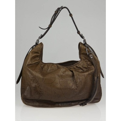 Burberry Brown Floral Perforated Leather Avondale Large Hobo Bag