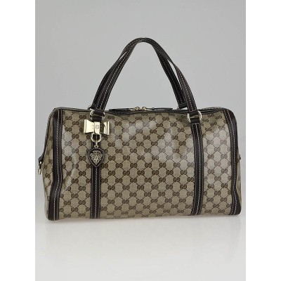 Gucci Beige/Ebony GG Crystal Medium Duchessa Boston Bag