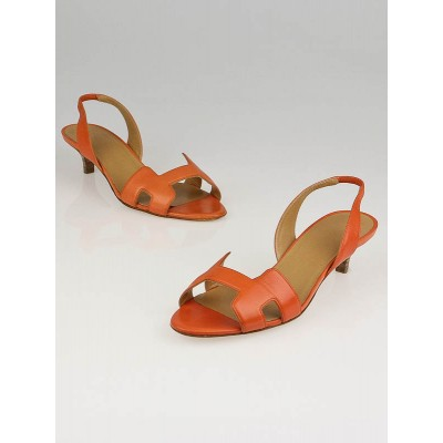 Hermes Orange Calfskin Leather Ottomane Slingback Kitten Heel Sandals Size 7/37.5