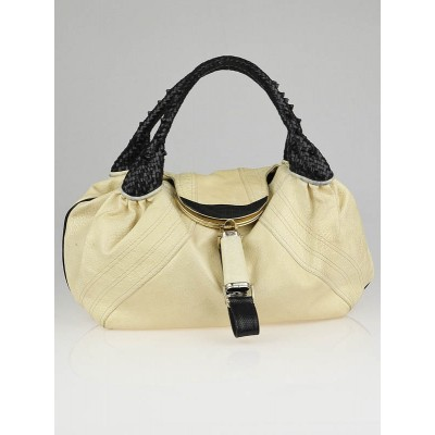 Fendi Beige/Black Leather Spy Bag