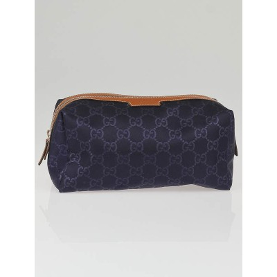 Gucci Blue Nylon Guccissima Fabric Large Cosmetic Case