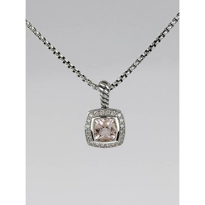 David Yurman 7mm Morganite and Diamond Petite Albion Pendant Necklace