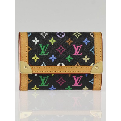 Louis Vuitton Black Monogram Multicolore Porte Monnaie Plat