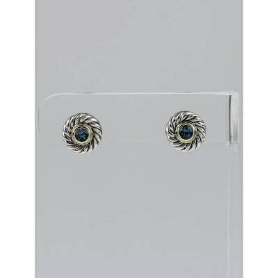 David Yurman Sterling Silver and Blue Topaz Cookie Stud Earrings