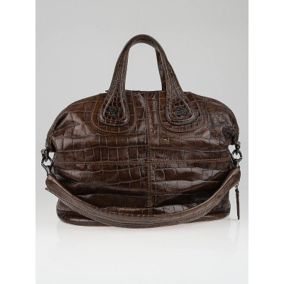 Givenchy Brown Croc-Embossed Patent Leather Medium Nightingale Bag