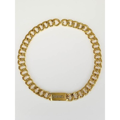 Chanel Goldtone Heavy Chain Logo Belt