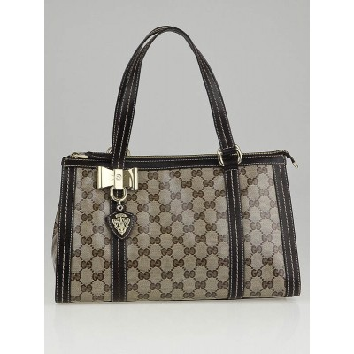 Gucci Beige/Ebony Crystal Coated Canvas Duchessa Satchel Bag