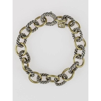 David Yurman Sterling Silver Cable and 18k Gold Link Bracelet
