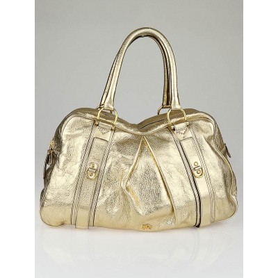Burberry Gold Leather Large Ashbury Bag