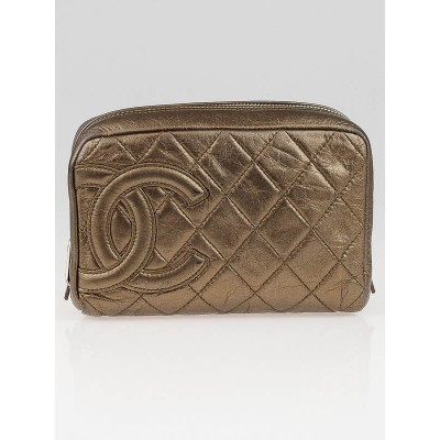 Chanel Bronze Quilted Cambon Ligne Cosmetic Pouch