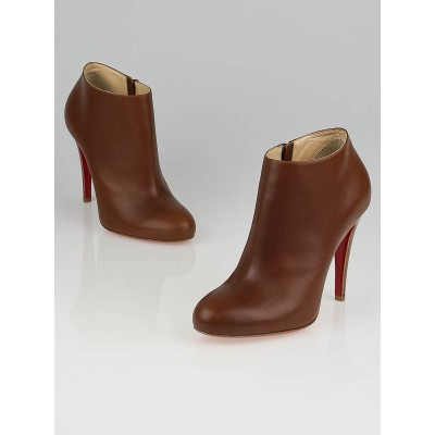 Christian Louboutin Brown Leather Belle 100 Booties Size 7.5/38