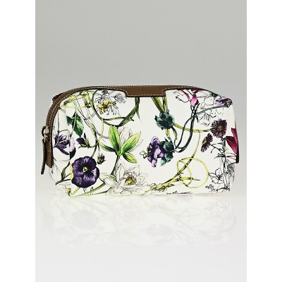 Gucci White Infinity Flora Print Canvas Cosmetic Case