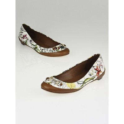 Gucci White/Multicolor Flora Canvas Horsebit Ballet Flats Size 5.5/36