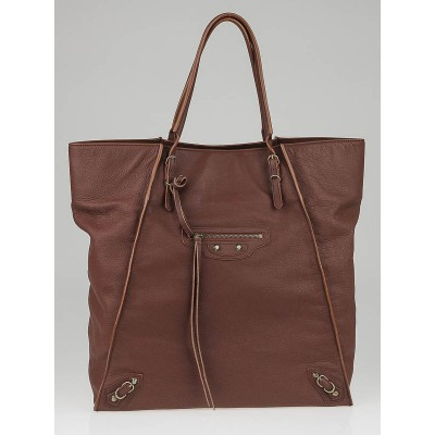 Balenciaga Chestnut Calfskin Leather Papier Tote Bag