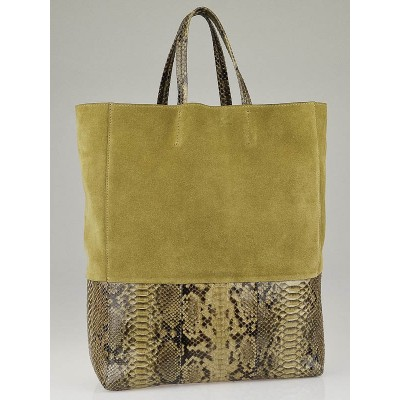 Celine Khaki Suede and Python Vertical Bi-Cabas Tote Bag