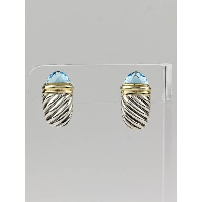 David Yurman 18k Gold and Sterling Silver Cable Blue Topaz Earrings