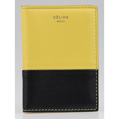 Celine Yellow/Navy Leather Bi-Color Folded Card Holder