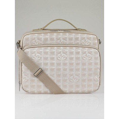 Chanel Beige CC Nylon Travel Line Laptop and Briefcase Bag
