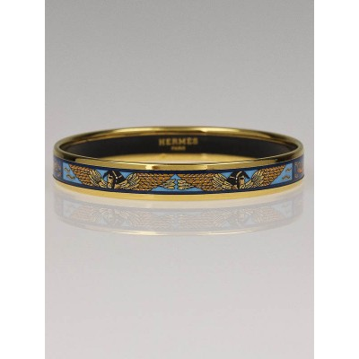 Hermes Blue Egypt Enamel Printed Narrow Bangle Bracelet Size 65