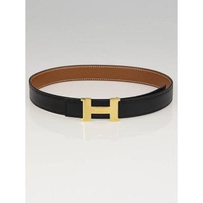 Hermes 24mm Black Box/Gold Courchevel Leather Gold Plated Constance H Belt Size 60