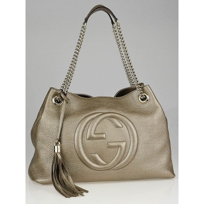 Gucci Gold Metallic Pebbled Calfskin Leather Soho Chain Tote Bag