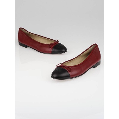 Chanel Red/Black Leather CC Cap-Toe Ballet Flats Size 10.5/41