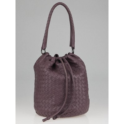 Bottega Veneta Lilac Intrecciato Woven Nappa Leather Drawstring Bag