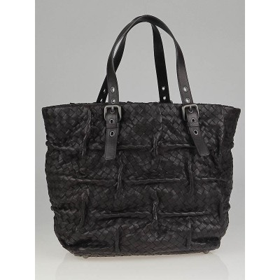 Bottega Veneta Ebano Intrecciato Woven Nappa Leather Pleated Mattita Tote Bag