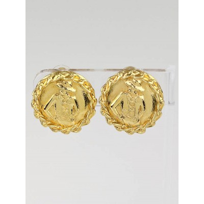 Chanel Vintage Gold Metal Coco Chanel Clip-On Earrings